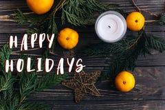 Bonnes fêtes le texte se connectent le papier peint de configuration d'appartement de Noël avec le GR Image stock
