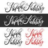 Bonnes fêtes lettrage calligraphique tiré par la main Photo stock