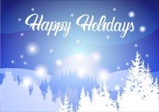Bonnes fêtes montagne Forest Landscape Background, bois d'hiver d'arbres de neige de pin illustration de vecteur