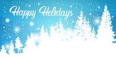 Bonnes fêtes montagne Forest Landscape Background, bois d'hiver d'arbres de neige de pin Photo libre de droits