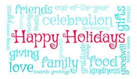 Bonnes fêtes nuage de Word Images stock
