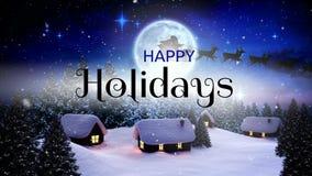 Bonnes fêtes texte et rennes tirant le traîneau illustration libre de droits
