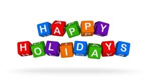 Bonnes fêtes Toy Block Flying coloré sur le fond blanc Photo stock