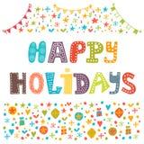 Bonnes fêtes carte de voeux Illustration pour la conception de vacances Image libre de droits