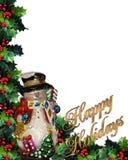 Bonnes fêtes texte du bonhomme de neige 3D Image stock