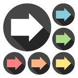 Bonnes icônes de flèche avec le long ensemble d'ombre Photographie stock libre de droits