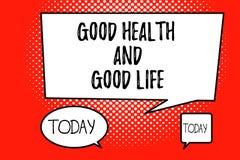 Bonnes santés et bonne vie des textes d'écriture de Word Le concept d'affaires pour la santé est une ressource pour vivre une ple illustration stock