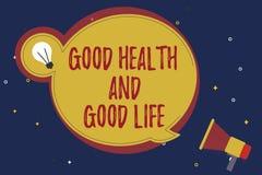 Bonnes santés et bonne vie des textes d'écriture de Word Le concept d'affaires pour la santé est une ressource pour vivre une ple illustration de vecteur