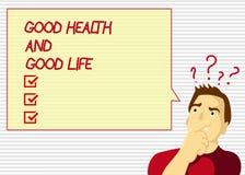 Bonnes santés et bonne vie des textes d'écriture Le concept signifiant la santé est une ressource pour vivre une pleine vie illustration libre de droits