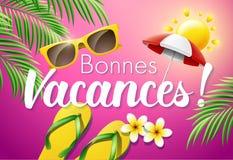 Bonnes Vacances. French translation of Happy Holidays. Vector illustration Stock Images