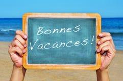 Bonnesvacances, gelukkige vakanties in het Frans Royalty-vrije Stock Foto's