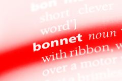 Bonnet. Word in a dictionary.  concept Stock Image