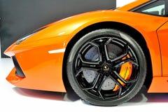 Bonnet and wheel of Lamborghini Aventador stock photo