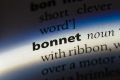 Bonnet. Word in a dictionary.  concept Royalty Free Stock Photography