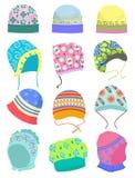 Bonnets. Set of baby bonnets isolated on white background Stock Photo