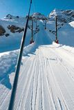 Bonneval Sur Arc. Pistes in ski resort Bonneval Sur Arc, Savoy Alps, France Stock Photo