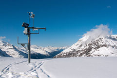 Bonneval Sur Arc. Web camera and meteo station in ski resort Bonneval Sur Arc, Savoy Alps, France Stock Images
