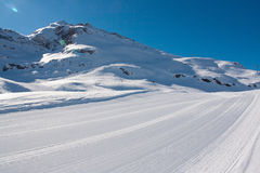 Bonneval Sur Arc. Pistes in ski resort Bonneval Sur Arc, Savoy Alps, France Royalty Free Stock Photo