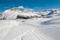 Bonneval Sur Arc. Pistes in ski resort Bonneval Sur Arc, Savoy Alps, France Royalty Free Stock Photography