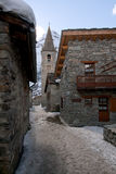 Bonneval Sur Arc. Street of village Bonneval Sur Arc, Savoy Alps, France Stock Image