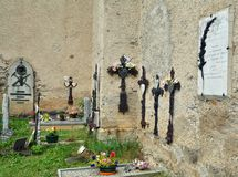 Bonneval sur arc, France. BONNEVAL SUR ARC -FRANCE - JULY 21, 2017. Cemetery in Bonneval-sur-Arc village, Savoie department of the Rhone Alpes, one of the most Stock Images