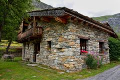 Bonneval sur arc, France. BONNEVAL SUR ARC -FRANCE - JULY 21, 2017. Traditional architecture with stone house in Bonneval-sur-Arc village, Savoie department of Stock Images
