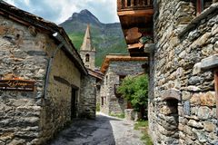 Bonneval sur arc, France. BONNEVAL SUR ARC -FRANCE - JULY 21, 2017. Traditional architecture with stone house in Bonneval-sur-Arc village, Savoie department of Stock Photography