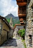 Bonneval sur arc, France. BONNEVAL SUR ARC -FRANCE - JULY 21, 2017. Traditional architecture with stone house in Bonneval-sur-Arc village, Savoie department of Stock Photo
