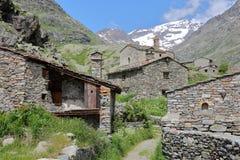 BONNEVAL-SUR-ARC, FRANCE: The hamlet L`Ecot. The hamlet L`Ecot in Vanoise National Park, Northern Alps Stock Images