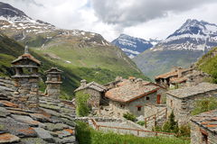 BONNEVAL-SUR-ARC, FRANCE: The hamlet L`Ecot in Vanoise National Park, Northern Alps. The hamlet L`Ecot in Vanoise National Park, Northern Alps Royalty Free Stock Photo