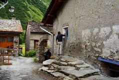 Bonneval sur arc, France. BONNEVAL SUR ARC -FRANCE - JULY 21, 2017. Traditional architecture with stone house in Bonneval-sur-Arc village, Savoie department of Royalty Free Stock Images