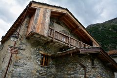 Bonneval sur arc, France. BONNEVAL SUR ARC -FRANCE - JULY 21, 2017. Traditional architecture with stone house in Bonneval-sur-Arc village, Savoie department of Stock Image