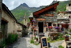 Bonneval sur arc, France. BONNEVAL SUR ARC -FRANCE - JULY 21, 2017. Traditional architecture with stone house in Bonneval-sur-Arc village, Savoie department of Royalty Free Stock Photography