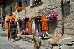 Bonneval sur arc, France. BONNEVAL SUR ARC -FRANCE - JULY 21, 2017. Traditional architecture with stone house in Bonneval-sur-Arc village, Savoie department of Stock Photos