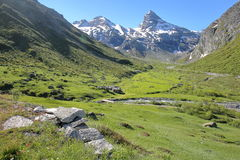BONNEVAL-SUR-ARC, FRANCE: view of the mountains above the hamlet L`ecot in Vanoise National Park, Northern Alps. View of the mountains above the hamlet L`ecot in Stock Photo