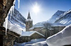 Bonneval-sur-Arc in winter. Old village Bonneval-sur-Arc in winter, Savoie, Vanoise, France Royalty Free Stock Image