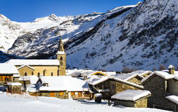 Bonneval-sur-Arc in winter. Old village Bonneval-sur-Arc in winter, Savoie, Vanoise, France Stock Image
