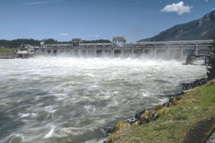 Bonneville Dam releasing water Oregon state. Royalty Free Stock Image
