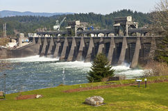 Bonneville Dam water release through the gates. Stock Images