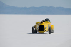 Bonneville racer. Photographed at Bonneville Speed Week this  race car waits for his service crew to arrive after having completed his timed run Royalty Free Stock Photography