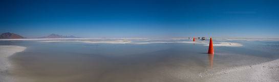 Bonneville Salt Flats with Mountains Royalty Free Stock Image