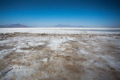 Bonneville Salt Flats with Mountains Royalty Free Stock Photos