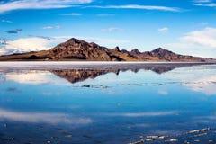 Bonneville salt flats reflection. Bonneville salt flats Great Salt lake, Utah, USA stock images
