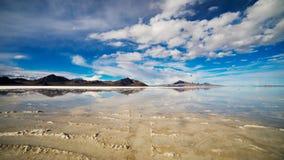 Bonneville salt flats reflection. Bonneville salt flats Great Salt lake, Utah, USA royalty free stock image