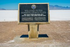 Bonneville Salt Flats Sign Stock Photos