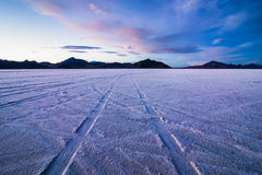 Bonneville Salt Flats at sunset. Sunset in bonneville salt flats Great Salt lake, Utah, USA royalty free stock photography