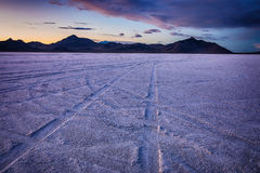 Bonneville Salt Flats at sunset. Sunset in bonneville salt flats Great Salt lake, Utah, USA stock photos