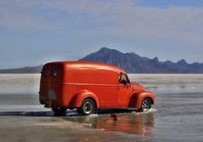 Bonneville Salt Flats in Utah with the car. Flooded Bonneville Salt Flats in Utah with the dragster Stock Photo