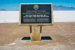 Bonneville soli mieszkań znak Zdjęcia Stock