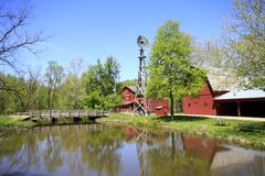 Bonneyville Mills, Windmill, and Barn Stock Image
